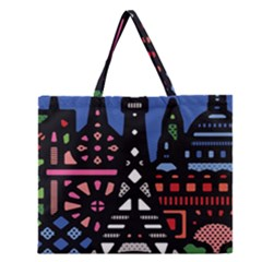 7 Wonders World Zipper Large Tote Bag by Mariart