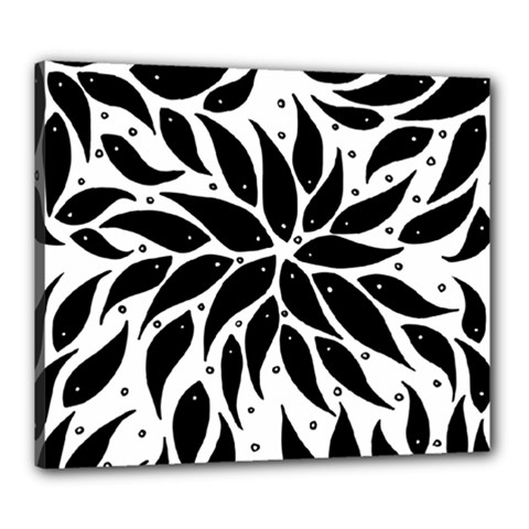 Flower Fish Black Swim Canvas 24  X 20  by Mariart