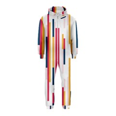 Geometric Line Vertical Rainbow Hooded Jumpsuit (kids)