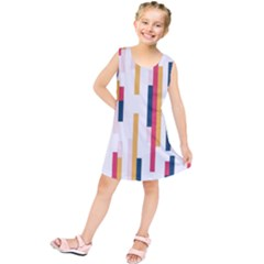 Geometric Line Vertical Rainbow Kids  Tunic Dress