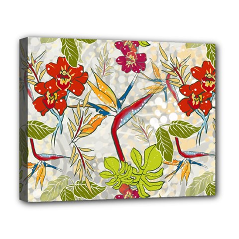 Flower Floral Red Green Tropical Deluxe Canvas 20  X 16   by Mariart