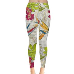 Flower Floral Red Green Tropical Leggings  by Mariart