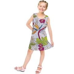 Flower Floral Red Green Tropical Kids  Tunic Dress