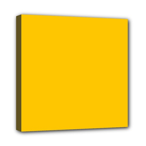 Amber Solid Color  Mini Canvas 8  X 8  by SimplyColor