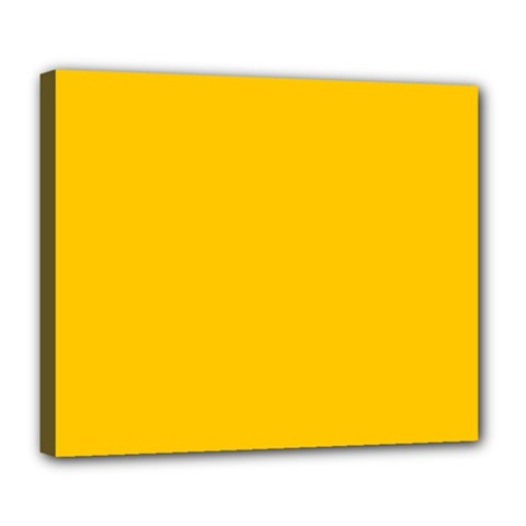 Amber Solid Color  Deluxe Canvas 24  X 20   by SimplyColor