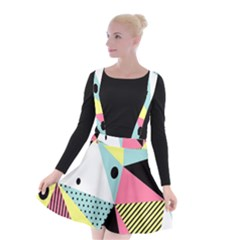 Geometric Polka Triangle Dots Line Suspender Skater Skirt by Mariart
