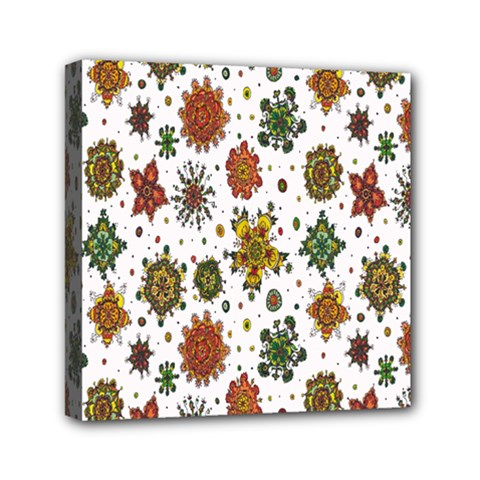Flower Floral Sunflower Rose Pattern Base Mini Canvas 6  X 6