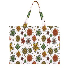 Flower Floral Sunflower Rose Pattern Base Zipper Large Tote Bag by Mariart