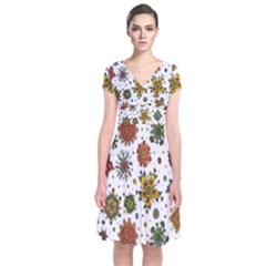 Flower Floral Sunflower Rose Pattern Base Short Sleeve Front Wrap Dress