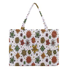 Flower Floral Sunflower Rose Pattern Base Medium Tote Bag by Mariart