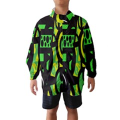 Half Grower Banner Polka Dots Circle Plaid Green Black Yellow Wind Breaker (kids)