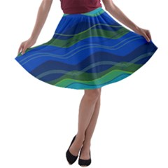 Geometric Line Wave Chevron Waves Novelty A Line Skater Skirt by Mariart
