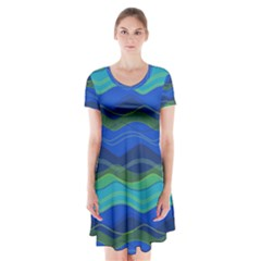Geometric Line Wave Chevron Waves Novelty Short Sleeve V Neck Flare Dress by Mariart