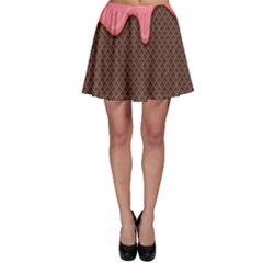Ice Cream Pink Choholate Plaid Chevron Skater Skirt