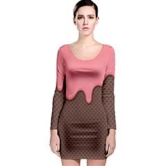 Ice Cream Pink Choholate Plaid Chevron Long Sleeve Bodycon Dress