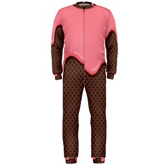 Ice Cream Pink Choholate Plaid Chevron Onepiece Jumpsuit (men)