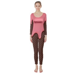 Ice Cream Pink Choholate Plaid Chevron Long Sleeve Catsuit