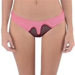 Ice Cream Pink Choholate Plaid Chevron Reversible Hipster Bikini Bottoms