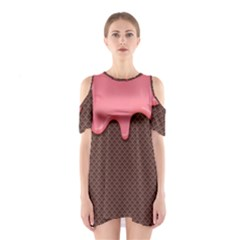 Ice Cream Pink Choholate Plaid Chevron Shoulder Cutout One Piece