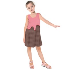 Ice Cream Pink Choholate Plaid Chevron Kids  Sleeveless Dress