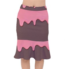 Ice Cream Pink Choholate Plaid Chevron Mermaid Skirt by Mariart