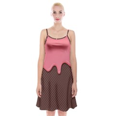 Ice Cream Pink Choholate Plaid Chevron Spaghetti Strap Velvet Dress