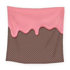 Ice Cream Pink Choholate Plaid Chevron Square Tapestry (large) by Mariart