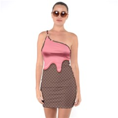 Ice Cream Pink Choholate Plaid Chevron One Soulder Bodycon Dress