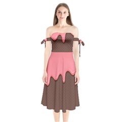 Ice Cream Pink Choholate Plaid Chevron Shoulder Tie Bardot Midi Dress