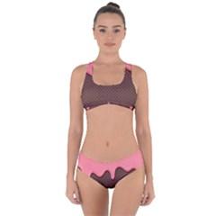 Ice Cream Pink Choholate Plaid Chevron Criss Cross Bikini Set