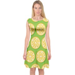 Lime Orange Yellow Green Fruit Capsleeve Midi Dress