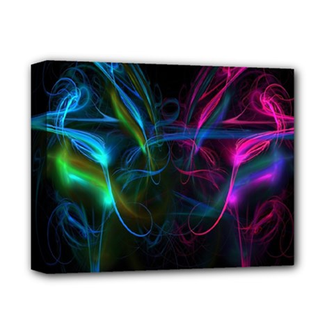 Light Waves Light Red Blue Deluxe Canvas 14  X 11  by Mariart