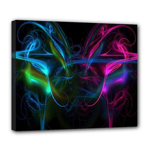 Light Waves Light Red Blue Deluxe Canvas 24  X 20   by Mariart