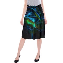 Light Waves Light Red Blue Midi Beach Skirt by Mariart