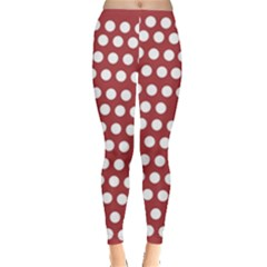 Pink White Polka Dots Leggings  by Mariart