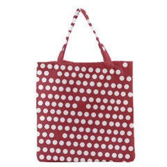 Pink White Polka Dots Grocery Tote Bag by Mariart