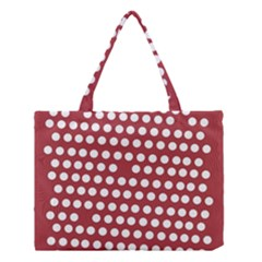 Pink White Polka Dots Medium Tote Bag by Mariart