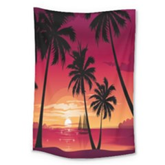 Nature Palm Trees Beach Sea Boat Sun Font Sunset Fabric Large Tapestry