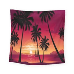 Nature Palm Trees Beach Sea Boat Sun Font Sunset Fabric Square Tapestry (small)