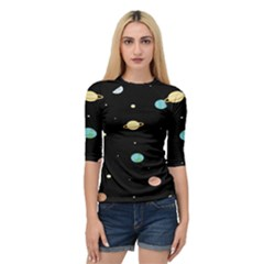 Planets Space Quarter Sleeve Tee by Mariart
