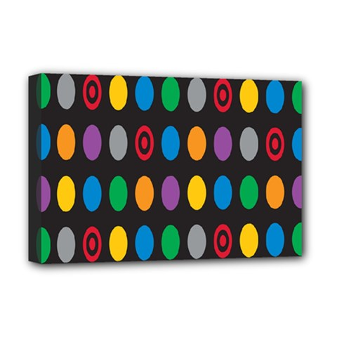 Polka Dots Rainbow Circle Deluxe Canvas 18  X 12   by Mariart