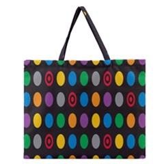 Polka Dots Rainbow Circle Zipper Large Tote Bag by Mariart