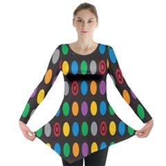 Polka Dots Rainbow Circle Long Sleeve Tunic  by Mariart