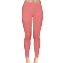 Coral Solid Color  Leggings  by SimplyColor