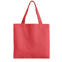 Coral Solid Color  Zipper Grocery Tote Bag by SimplyColor