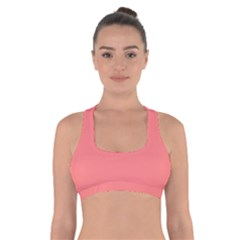 Coral Solid Color  Cross Back Sports Bra by SimplyColor