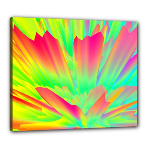 Screen Random Images Shadow Green Yellow Rainbow Light Canvas 24  X 20  by Mariart