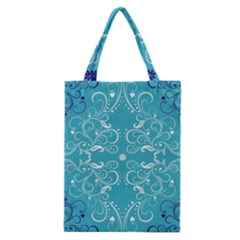 Repeatable Flower Leaf Blue Classic Tote Bag by Mariart