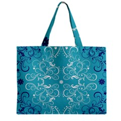 Repeatable Flower Leaf Blue Zipper Mini Tote Bag by Mariart