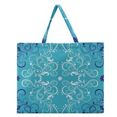 Repeatable Flower Leaf Blue Zipper Large Tote Bag by Mariart
